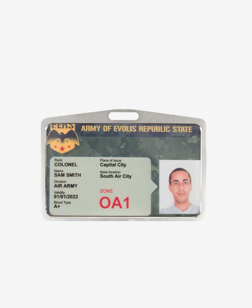 Silvery Badge Holder horizontal