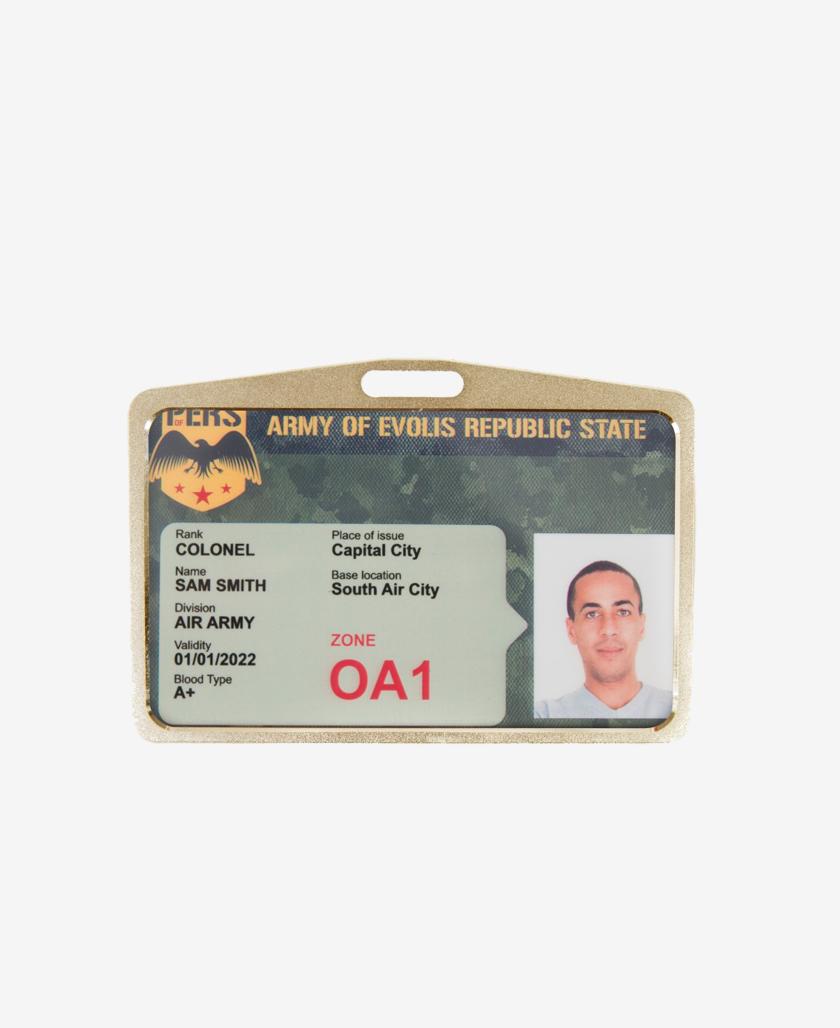 Portabadge Ramato orizzontale con card inserita
